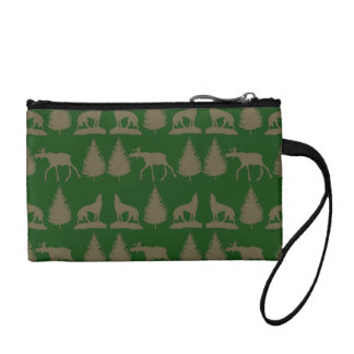 Wild Moose Wolves Pine Trees Rustic Tan Green Coin Purse