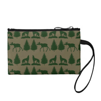 Wild Moose Wolves Pine Trees Rustic Tan Green Coin Purses