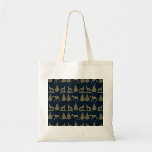 Wild Moose Wolves Pine Trees Rustic Tan Navy Blue Canvas Bags
