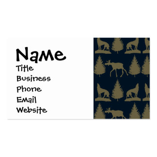 Wild Moose Wolves Pine Trees Rustic Tan Navy Blue Pack Of Standard Business Cards