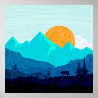 Wild mountain dusk landscape poster