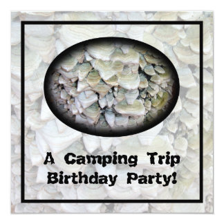 Wild Mushrooms Camping Birthday Party 5.25x5.25 Square Paper Invitation Card