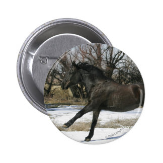 Wild Mustang Horse in the Snow 2 Button