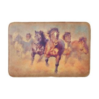 Wild Mustang Horses Stampede Watercolor Bath Mat