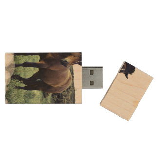 Wild Mustang Wood USB 2.0 Flash Drive