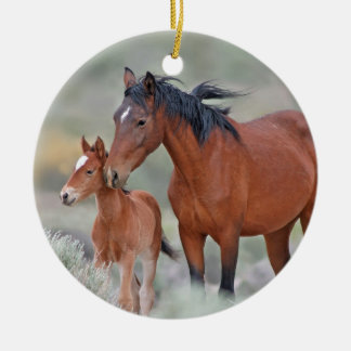 Wild Mustangs at Altamont Pass Ceramic Ornament