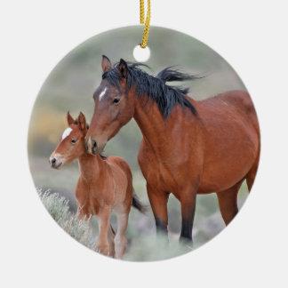 Wild Mustangs at Altamont Pass Round Ceramic Decoration