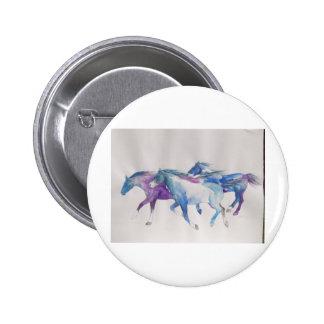 Wild Mustangs in Pastel Pinback Buttons