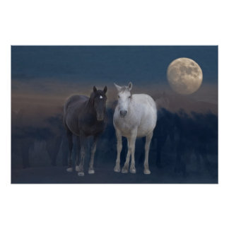 Wild Mustangs of the Night Poster