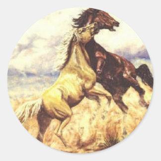 Wild Mustangs Round Sticker