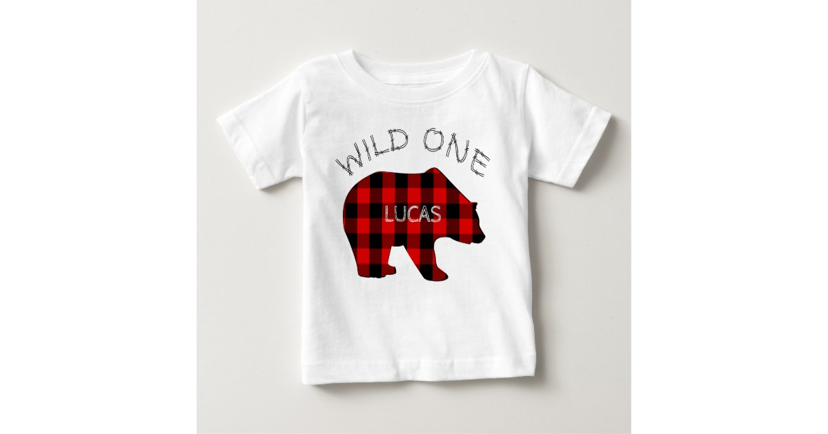 2513a03a592 Wild One 1st Birthday Bear Lumberjack Plaid Baby T-Shirt