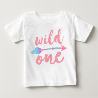 Wild One and Arrow Pink | Boho | One Year Old Baby T-Shirt