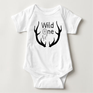 Wild One Antlers Tribal Dreamcatcher 1st Birthday Baby Bodysuit