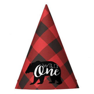 Wild One Bear | Flannel First Birthday Party Hat