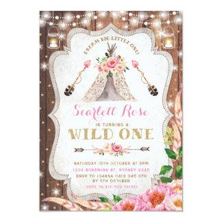 Wild One Birthday Invitation Floral Boho Teepee