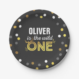 "Wild One Birthday Paper Plate 7"" Modern Wild One"