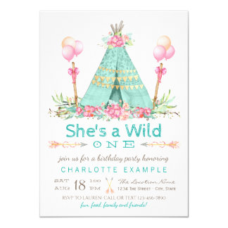 Wild One Birthday Party Teepee First Birthday Card