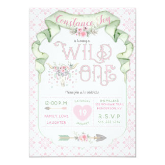 Wild One Birthday Pink Green Tribal Card