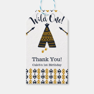 Wild One Blue Gold Tepee 1st Birthday Party Gift Tags