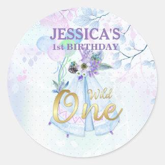 Wild One First Birthday Blue TeePee Boho Round Sticker