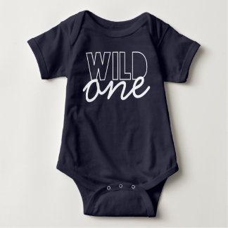 Wild One First Birthday Bodysuit in Navy