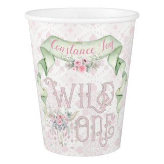 Wild One First Birthday Pink Green Tribal Paper Cup