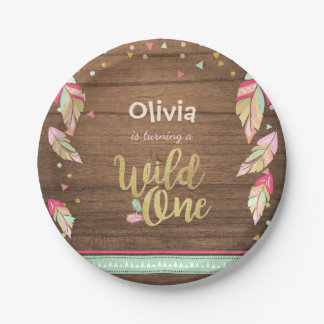 Wild One Gold First birthday Paper Plates Pink