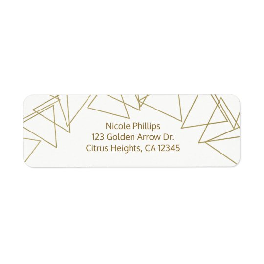 Wild One Gold Geometric Triangles Modern Glamour Return Address Label