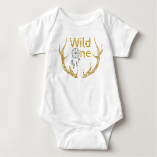 Wild One Gold Glitter Antlers Tribal 1st Birthday Baby Bodysuit