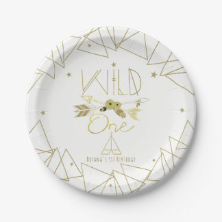 WILD ONE Gold & White Boho 1st Birthday ANY COLOR Paper Plate