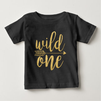 Wild One|One Year Old Gold Script Baby T-Shirt