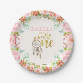 "Wild One Paper Plate 7"" Boho Dreamcatcher Party"