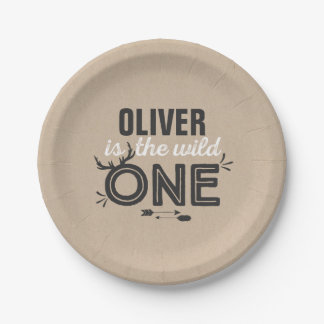 "Wild One Paper Plate 7"" Rustic Kraft Wild One"