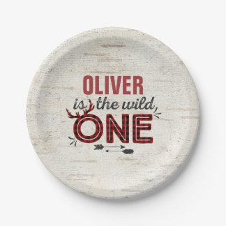 "Wild One Paper Plate 7"" Rustic Lumberjack Wild One"