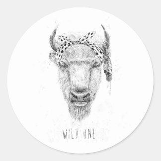 Wild one round sticker