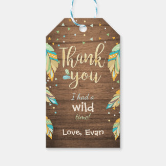 Wild one thank you favor gift tags Blue green boy
