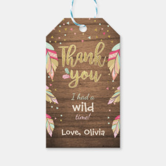 Wild one thank you favor gift tags Girl Pink Gold