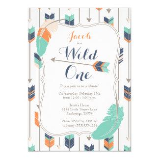 Wild ONE Tribal Arrows Birthday Party Blue Green 13 Cm X 18 Cm Invitation Card