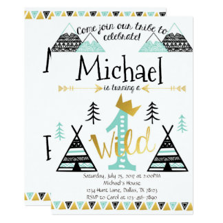 Wild One Tribal Birthday Party Invitation Boy
