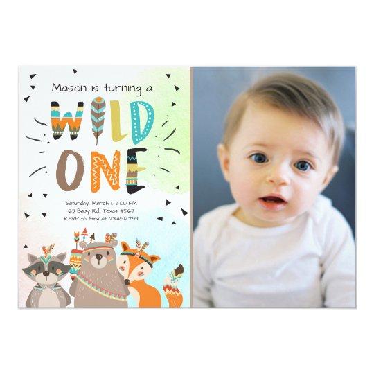 Wild One Tribal First birthday invitation Woodland