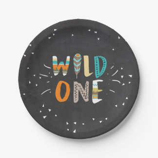 Wild One Tribal First birthday Paper Plates Boho