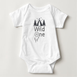 Wild One Tribal Teepee Dreamcatcher 1st Birthday Baby Bodysuit