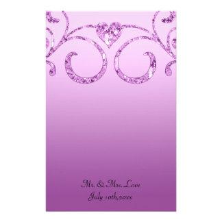 Wild Orchid Diamond Swirl Wedding Customised Stationery