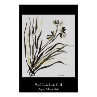 Wild Orchid with Gold Poster