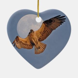 Wild Osprey & Super Moon Photo Design Ceramic Heart Decoration