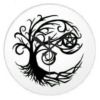 Wild Pagan Pentacle Tree Large Clock