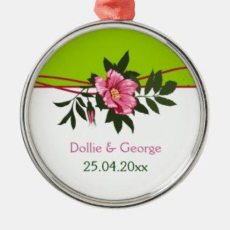 Wild pink rose floral wedding lime green keepsake round metal christmas ornament