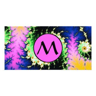 Wild Psychedelic Fractal Spiral - pink monogram Personalised Photo Card