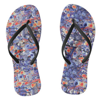 Wild Purple and Orange Abstract Thongs