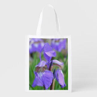 Wild Purple Blue Flag Iris Flower Market Tote
